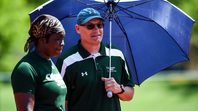 CSU thrower Aaliyah Pete and coach Brian Bedard, shown during a practice session last summer, both earned All-Mountain West honors after the Rams won the conference's indoor title over the weekend in Albuquerque, N.M. Pete was named all-conference in two events, and Bedard was named the coach of the year.