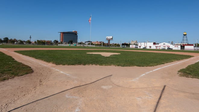 A photo of the diamond at the former Tiger Stadium on September 24, 2013.