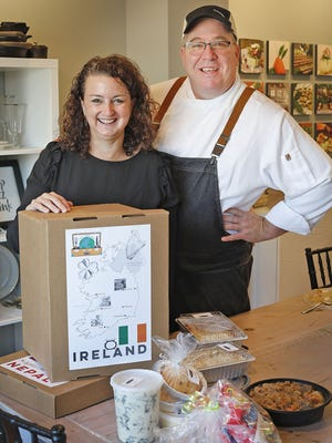 Julie and Mark Ellis owners of the Chef's Table in Marshfield have taken a novel idea to making take out family meals. Each week they feature a meal for four from a different country on Thursday October 15, 2020  Greg Derr/ The Patriot Ledger