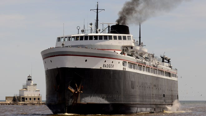 The S.S. Badger makes its 60-mile crossing of Lake Michigan between Manitowoc and Ludington.