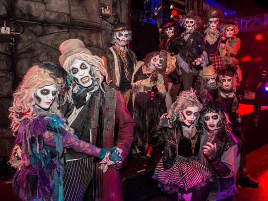 """The cast of the """"Dead Man's Party"""" show at Six Flags Great Adventure in Jackson."""