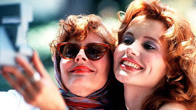 Susan Sarandon and Geena  Davis take an old-school selfie in 'Thelma & Louise.'