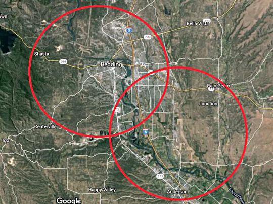 Red circles show the five-mile, no-fly zones around Redding Municipal Airport and Benton Airpark, which puts most of the cities of Redding and Anderson off-limits to drone pilots.