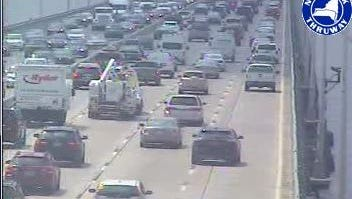 Traffic is heavy both ways on the Tappan Zee Bridge at 2:35 p.m. Friday, July 17, 2015, as seen in a state Thruway Authority traffic camera image. Traffic closest to the camera is traveling north.