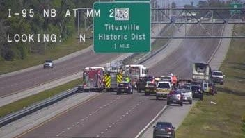 Northbound lanes on I-95 closed in Titusville due to a vehicle fire March 28, 2017.