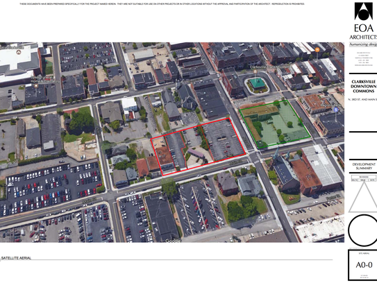Map of Clarksville Downtown Commons, between Third