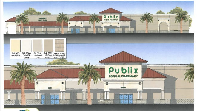 The Banana River Square shopping center Publix will be knocked down to make way for a new store. Site plans show a revamped store, new landscaping and some changes to traffic patterns in the parking lot.