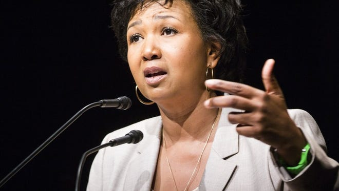 Former NASA astronaut Dr. Mae C. Jemison delivers the keynote address Tuesday at the Victor Hurst Convocation as Clemson University begins its new academic year.