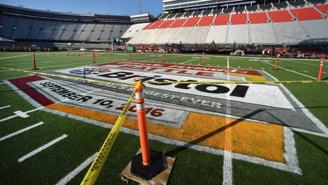 The centerfiled logo for The Battle At Bristol is completely painted and roped off Monday, September 5, 2016.