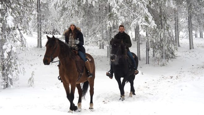 "Vanessa and Nick ride horses during their last date in Finland during the season finale of ""The Bachelor."""
