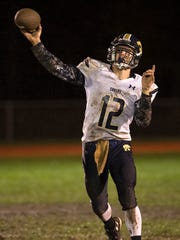 Susquehanna Valley quarterback Jerred Freije throws a pass during the second quarter against Windsor on Friday. Windsor won the game 27-14 to clinch a playoff berth.