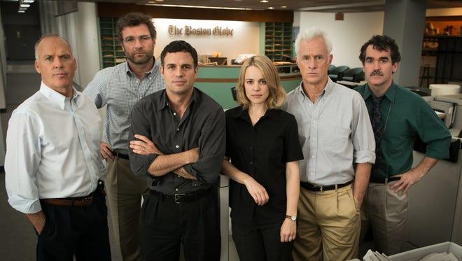 "Michael Keaton (from left), Liev Schreiber, Mark Ruffalo, Rachel McAdams, John Slattery, and Brian d'Arcy James in a scene from the film, ""Spotlight."""