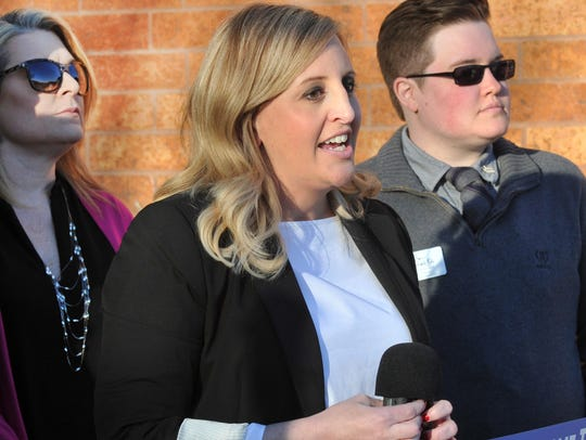 In this file photo, Wichita Falls Convention & Visitors Bureau director (CVB), Lindsay Barker, spoke to a crowd of people in 2018 shortly before a ribbon cutting ceremony held to celebrate the CVB's move into their new offices located at the MPEC.