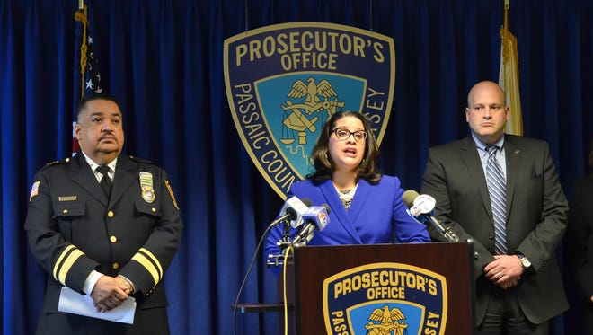 Passaic County Prosecutor Camelia M. Valdes speaking at the press conference Thursday announcing the arrest of six teenagers on child pornography charges.