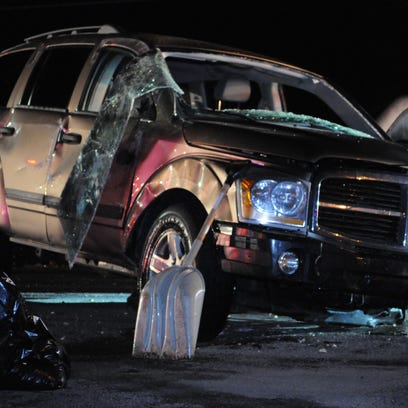 A Dodge Durango involved in an accident Sunday on Route