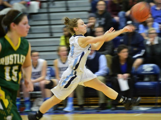 Great Falls High's Lyndee Feisthamel makes a pass up court during a crosstown game last year.