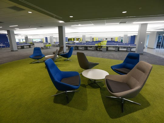 A lounge space at United Shore Financial Services on Wednesday, June 20, 2018. The mortgage company has relocated into a new 610,000-square-foot space in Pontiac.