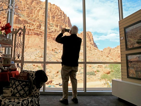 A visitor to the new Tuacahn Arts Center takes in the