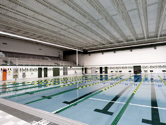 The competition swimming pool  at the new Aquatic Center
