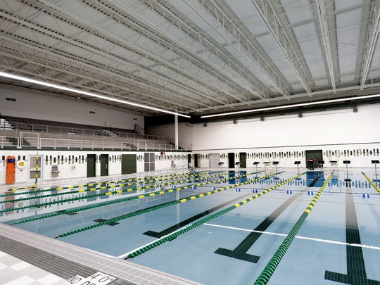 The competition swimming pool  at the new Aquatic Center at Ashwaubenon High School. The center can hold 400 spectators on the upper level.