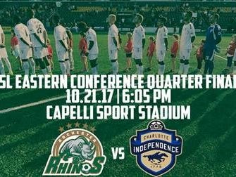TheRhinoswill host aUSL Eastern Conference First Round Playoff Matchon Oct. 21 at Capelli Sport Stadium.
