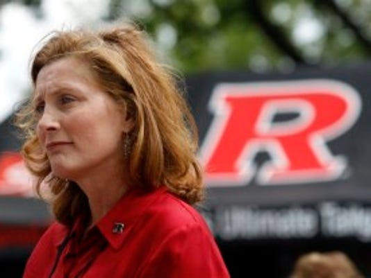 Rutgers athletic Director Julie Hermann stands outside the stadium before an NCAA college football game against Washington State Saturday, Sept. 12, 2015, in Piscataway, N.J. (AP Photo/Mel Evans)