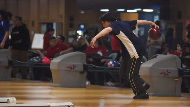 Beacon High School's Kevin Murphy bowls at Fishkill Bowl on Thursday.