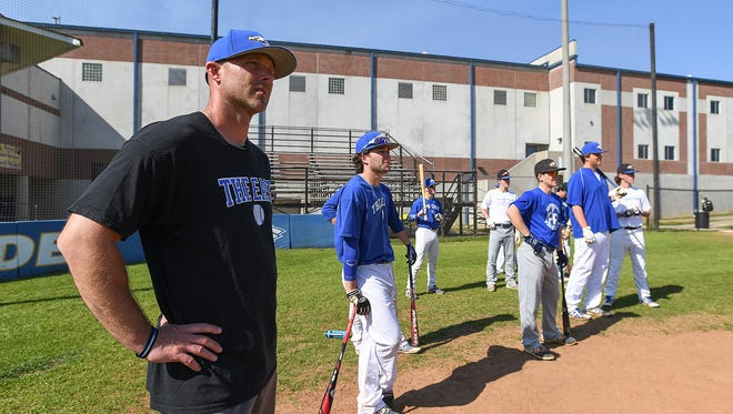 Eastside baseball coach Scott Erwin watches his team take batting practice on Thursday, April 12 2018 at the school in Taylors. The Eagles will host Pickens in their Class AAAA playoff opener Tuesday.