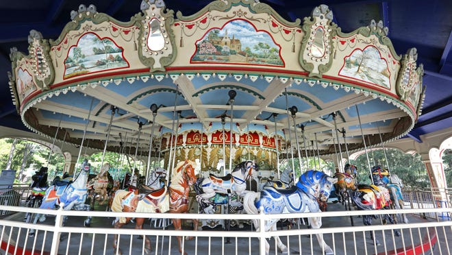 The Grand Carousel at Kings Island in Mason. The band organ sits in the center of the ride.