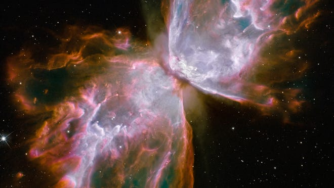 This close-up of the dying star's nebula was recorded in 2009 by the Hubble Space Telescope's Wide Field Camera 3.