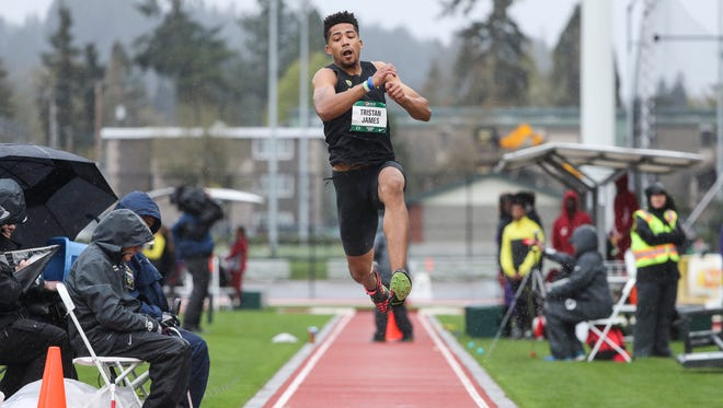 Tristan James competes in the Pepsi Invitational at Hayward Field in Eugene on April 7. James is a former West Salem standout.