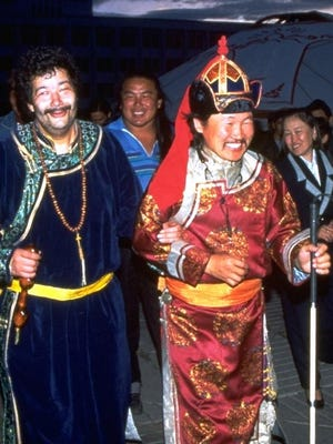 """American blues musician Paul Pena, left, and master Tuvan throat singer Kongar ol-Ondar in a scene from """"Genghis Blues,"""" a documentary about Pena's odyssey in throat singing that plays the Movies at the Door series Jan. 27 at Door Community Auditorium."""