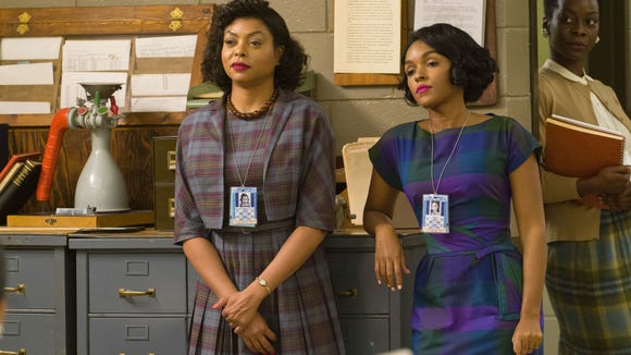 Katherine (Taraji P. Henson) and Mary (Janelle Monae) are math geniuses looking to advance in their NASA careers. (Credit: Hopper Stone)