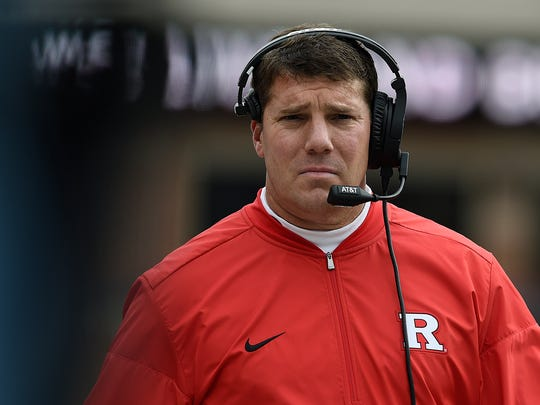 Rutgers head coach Chris Ash walks to the sideline after a timeout against Maryland on Saturday.