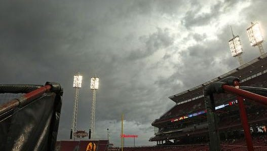 Dark clouds and rain roll over Great American Ball Park prior to a May 19 game.