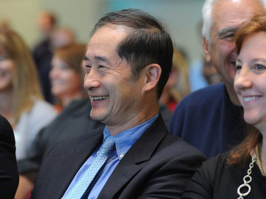 Cenntro Automotive founder Peter Wang and Marianne McInerney, executive vice president, at the EDAWN press conference Friday morning announcing their company's move to Sparks.