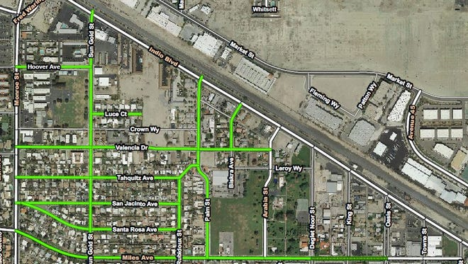 This map of Indio shows streets that will undergo an improvement project beginning Monday. work is scheduled to last into August.