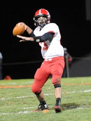 Hilltop's Quinn Smith preps for a pass during their
