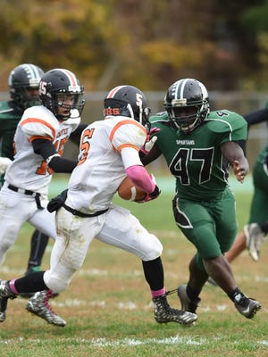Spackenkill and Dover high schools compete in football in October of 2015.