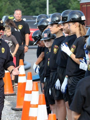 Ex-Chief Matt Ambrosio of the Waretown Fire Dept. speaks to the junior recruits.