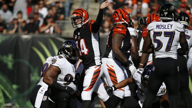 Cincinnati Bengals quarterback Andy Dalton (14) reacts after a first down in the first quarter against the Baltimore Ravens at Paul Brown Stadium.