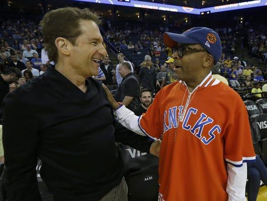 Diehard New York Knicks fan Spike Lee talks to Golden