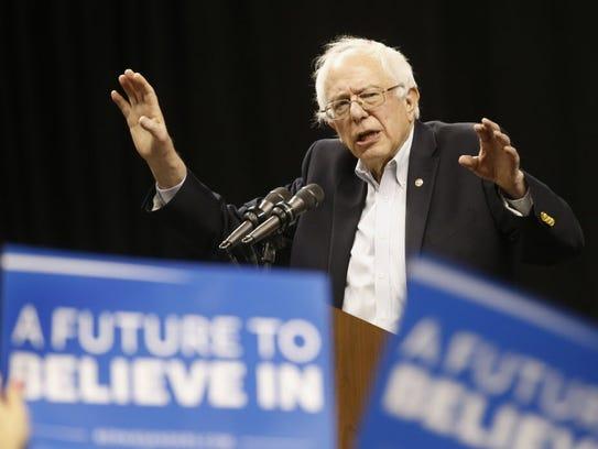 Sen. Bernie Sanders, I-Vt. speaks to supporters at