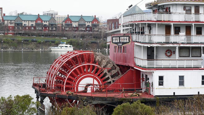 FILE - In this March 22, 2015 file photo, the Delta Queen paddlewheel steamboat waits for departure from Chattanooga, Tenn., on its way to Louisiana for restoration.