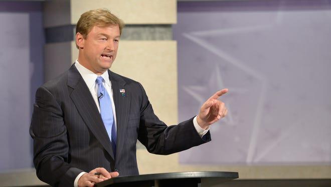 Senator Dean Heller, R-Nev., is pictured during his 2012 Senate run, Sept. 27, 2012.