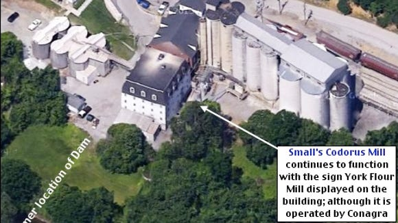 Small's Codorus Mill seen from 2015 aerial.