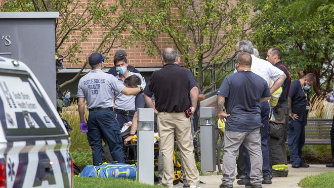 The Dana-Farber/Brigham and Women's Cancer Center in Weymouth was evacuated Monday August 24, 2020 after part of the building's ventilation system on the fourth floor malfunctioned, setting off a smoke detector. Two people, including a firefighter, were treated by emergency medical technicians because of overheating.