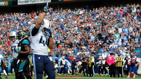 Titans running back Jackie Battle celebrates his touchdown run against the Jaguars last Sunday at LP Field.