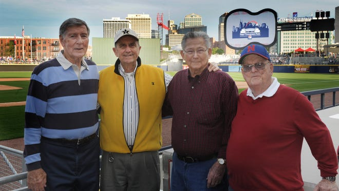 From left, Buddy Gilbert, Larry Taylor, Roy Pardue and Bobby Durnbaugh at First Tennessee Park on opening night.