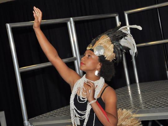 Melia Brockington, 11, performs a Polynesian dance